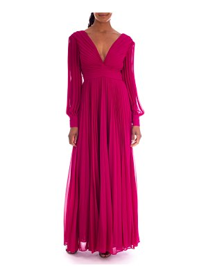 Badgley Mischka Collection V-Neck Long-Sleeve Pleated Georgette Gown