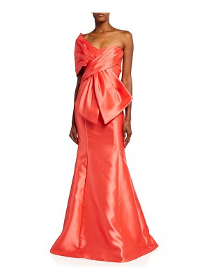 Badgley Mischka Collection Wrap Top Trumpet Gown with Bow Detail