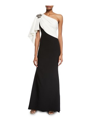 Badgley Mischka Couture Colorblocked Draped Gown with Brooch Shoulder