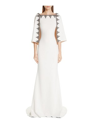 Badgley Mischka Couture badgley mischka couture beaded cape gown