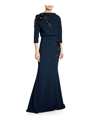 Badgley Mischka Couture Floral Embroidered Half-Sleeve Mermaid Gown