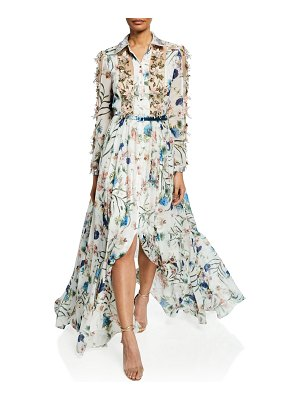 Badgley Mischka Couture Ruffled Floral Print Belted Gown
