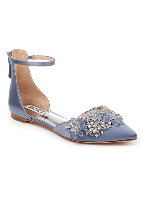 Badgley Mischka Crystal Embellished Ankle Strap Flats