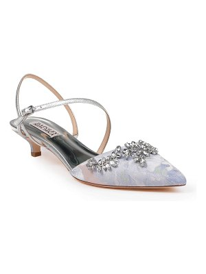 Badgley Mischka crystal embellished quarter strap pump