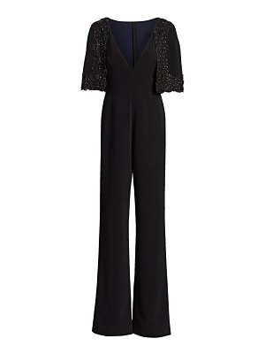 Badgley Mischka embellished cape jumpsuit