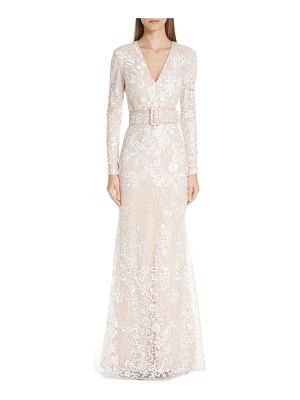 Badgley Mischka collection embroidered belted gown