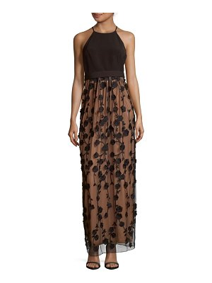 Belle Badgley Mischka Embroidered Halter Neck Dress