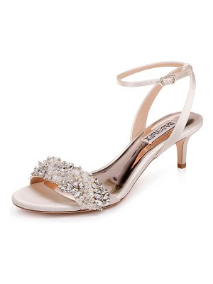 Badgley Mischka Fiona Embellished Satin Kitten-Heel Sandals