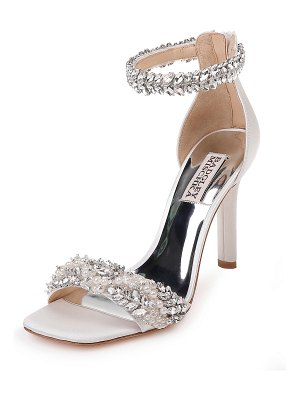 Badgley Mischka Fiorenza Embellished Satin Ankle-Wrap Sandals