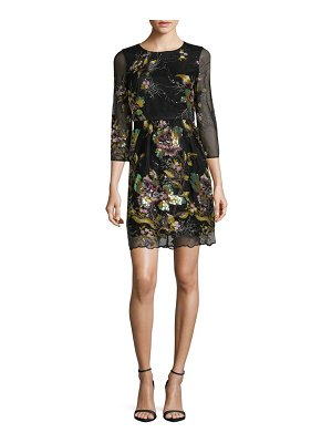 Belle Badgley Mischka Floral Embroidered Dress