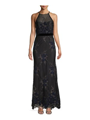 Badgley Mischka Floral Lace Mermaid Gown