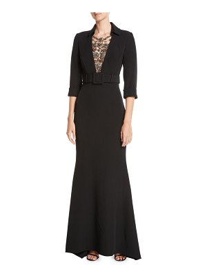 Badgley Mischka Couture Jeweled-Front 3/4-Sleeve Belted Trumpet Tuxedo Evening Gown