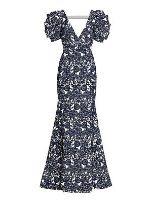 Badgley Mischka lace puff-sleeve gown