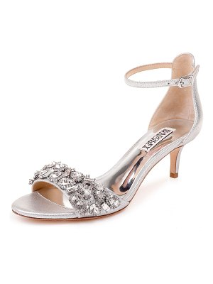 Badgley Mischka Lara Embellished Metallic Kitten-Heel Sandals