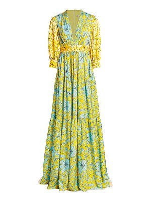 Badgley Mischka mixed print teired gown