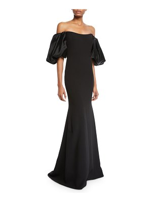 Badgley Mischka Couture Off-the-Shoulder Balloon-Sleeve Mermaid Gown