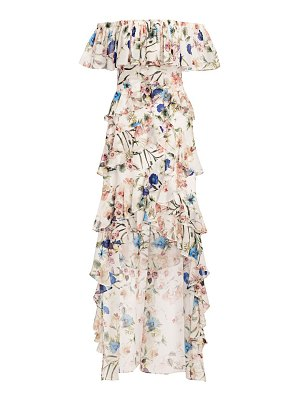 Badgley Mischka off-the-shoulder palladian floral ruffle gown