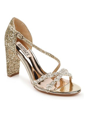 Badgley Mischka Omega II Glitter Block-Heel Sandals