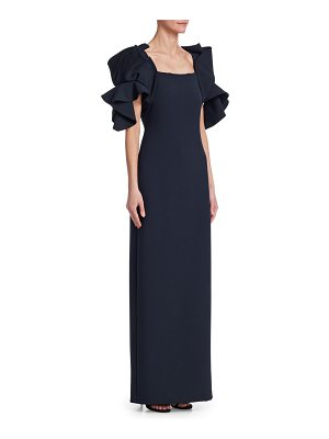 Badgley Mischka origami-sleeve gown