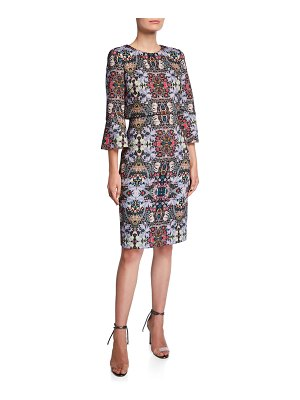 Badgley Mischka Printed Trumpet-Sleeve Day Dress