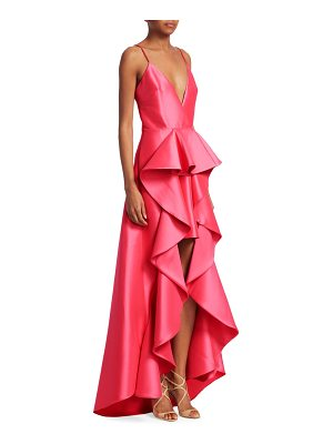 Badgley Mischka ruffle high-low gown