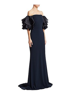 Badgley Mischka ruffle sleeve off-the-shoulder gown