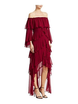 Badgley Mischka ruffled off-the-shoulder high-low dress