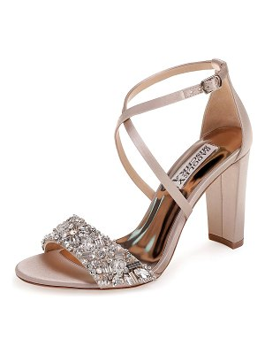 Badgley Mischka Sandra Embellished Satin Cross-Strap Sandals