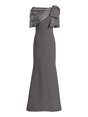 Badgley Mischka sequin asymmetric bow mermaid gown