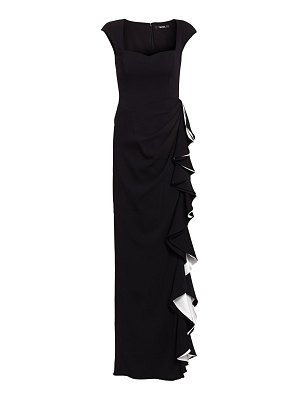 Badgley Mischka side ruffle column gown