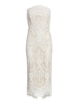 Badgley Mischka strapless lace cocktail dress