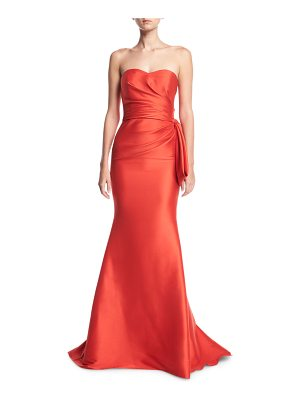 Badgley Mischka Strapless Sweetheart Mikado Satin Evening Gown w/ Bow Detail