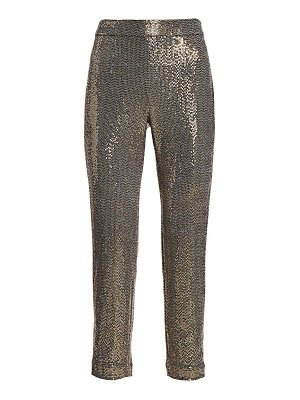 Badgley Mischka stretch sequin slim ankle pants