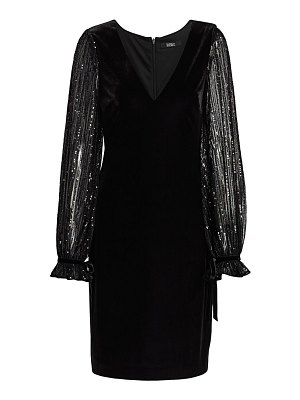 Badgley Mischka stretch velvet sequin sleeve dress