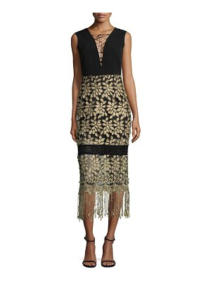 Belle Badgley Mischka Tasseled Lace-Up Midi Dress
