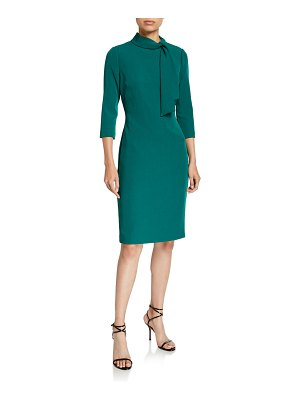 Badgley Mischka Tie-Neck 3/4-Sleeve Day Dress