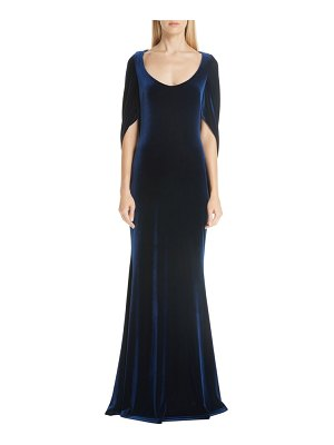 Badgley Mischka collection velvet drape sleeve gown