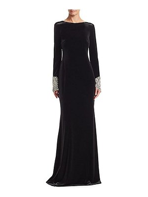 Badgley Mischka velvet open back gown