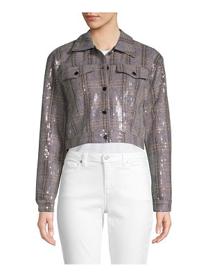 Bagatelle Embellished Cropped Herringbone Jacket