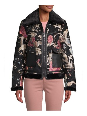 Bagatelle Faux Fur-Trimmed Floral-Embroidered Jacket
