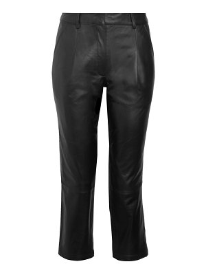 Bagatelle Pleated Cropped Leather Pants