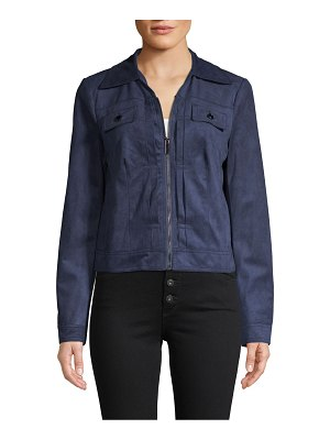 Bagatelle Zip-Up Faux Seude Trucker Jacket