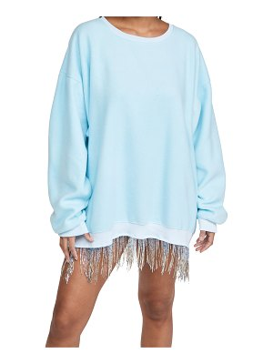 Baja East dropped shoulder crew dress with fringe