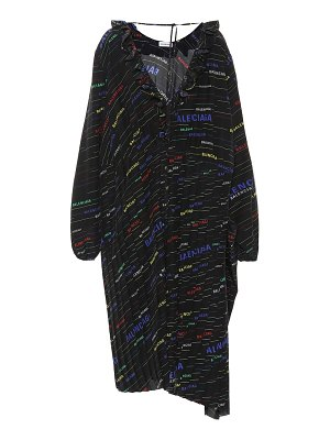 Balenciaga Asymmetric printed silk dress