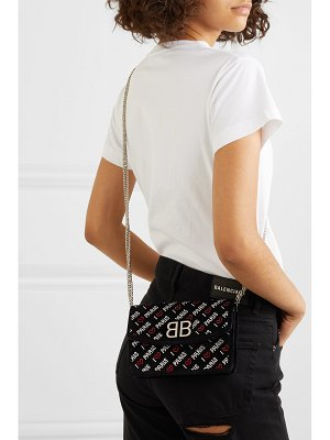 Balenciaga bb crystal-embellished suede shoulder bag