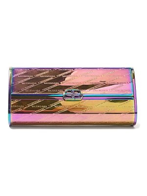 Balenciaga bb hard logo embossed iridescent leather clutch