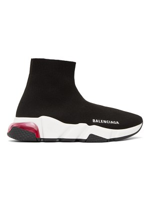 Balenciaga black and pink clear sole speed sneakers