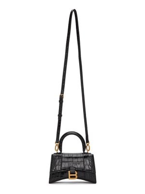 Balenciaga black croc small hourglass bag