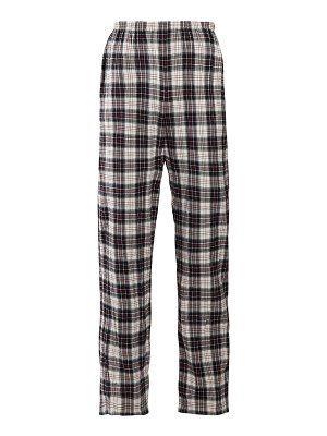 Balenciaga Checked high-rise brushed cotton trousers
