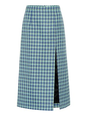 Balenciaga checked wool pencil skirt